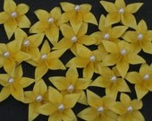 Set of 80 Origami five petal star flower with pearl center