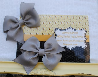 """Dark Grey Hair Bows - 3"""" Silver Hairbows - Pewter Pigtail Bow Pair - Two Loop 3 Inch Hair Bow - Girls Hairbow - Fall Bow - Piggy Tail Bow"""