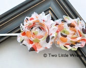 Zoe Flower Headband - Fall Festival Dots Double Shabby Chic Flowers - Baby Headband to Adult Headband - SPRING SALE - See Shop