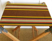 Camping... Vintage Striped Fold Up Camp Stool Luggage Stand Stool Bench