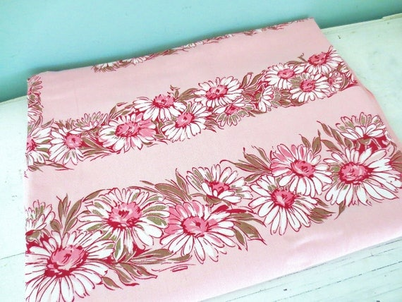 Pretty in Pink... Vintage New Old Stock Pink Floral Cotton Tablecloth Table Cloth