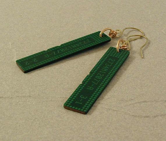 Earrings Recycled Circuit Board and Brass Geekery