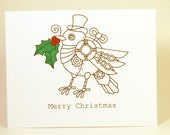 Steampunk bird Christmas greeting card