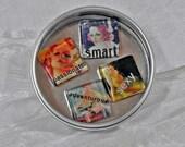 Glass Tile Mood Magnets in Tin - Vintage Pinup Girls Magnets - Bridal Shower Gift  - Playful Magnets