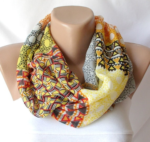Infinity Scarf Loop Scarf Circle Scarf Cowl Scarf  Autumn circle stripe handmade from coton linen