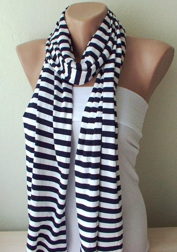 White and Navy Blue Striped Jersey Cotton Soft Scarf