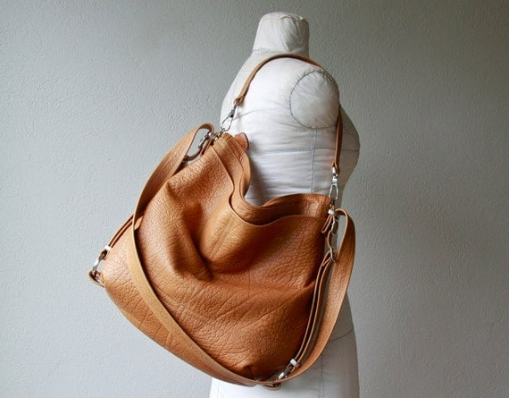sale - ships today in 'Palomino' leather with iPad pocket - XL HOBO PACK   'three in one' - leather backpack - with two outside pockets