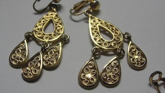 Goldtone Teardrop Filigree Dangle Clip Earrings