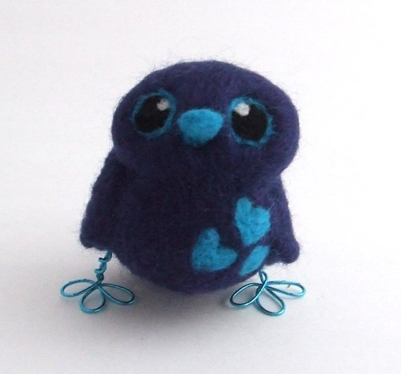 Sale Blue Bird Navy blue and Turquoise Needle Felted Bird