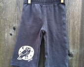 Woodland Grey Owl Hand Silkscreened Infant Pant- 3month, 6 month, 12 month and 18 month