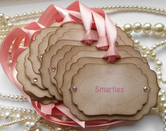 Candy Buffet Labels, Pink Candy Buffet, Custom Tags, Personalized Tags, Candy Buffet Tags, Wedding Favors, Wedding Favor Tags, Gift Tags