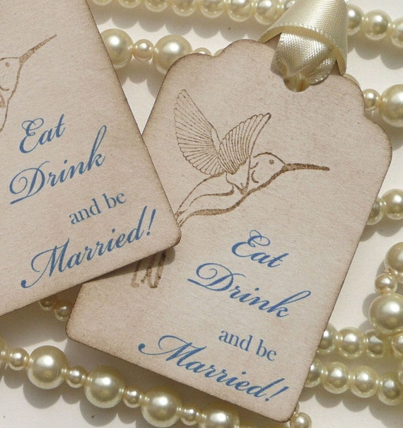 Eat Drink and Be Married Wedding Favor Tags - Vintage Style Set of 10 Blue