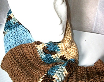 Crochet Scarf, Browns and Blues Long Striped Scarf