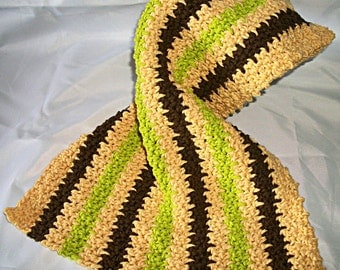 Crocheted Hand Towel, Green and Brown Stripes