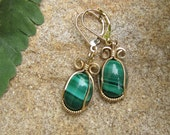 Wire Wrapped Malachite Earrings - Gold Filled