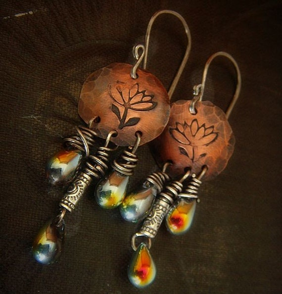 Copper Lotus, Hill Tribe Silver and Czech Glass Drop Beaded Earrings