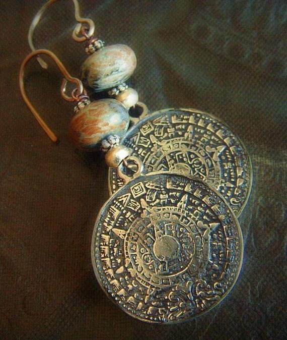 Silver Aztec Calender and Snake Skin Jasper Beaded Earrings