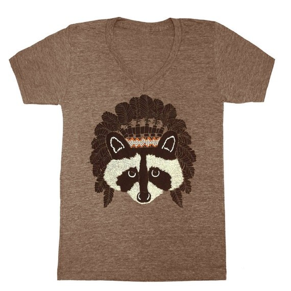 SALE Raccoon - V-neck Tshirt Tee Shirt Native American Indian Feathers Retro Headdress Cute Adorable Chief Athletic Coffee Vneck T-shirt