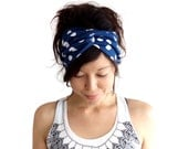 Turban Headband Blue with White Polka Dot Last one in Stock