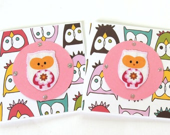 Pink Fabric Owls - Mini Note Cards - Set of 2 Note Cards