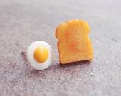 Egg and Toast Earring Studs - Breakfast Earrings - Miniature Food Earrings (E050)