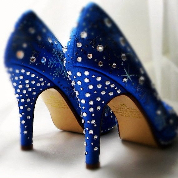 Wedding Shoes blue  snowflakes custom Sapphire accessory
