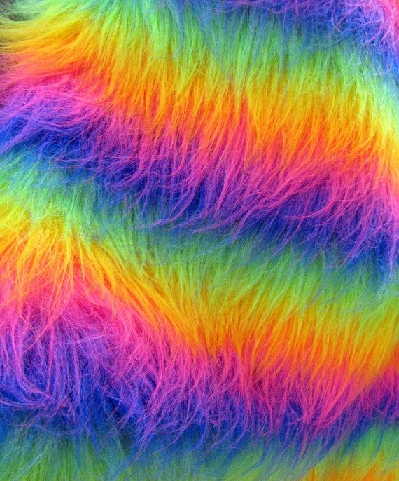 Rainbow Multitonal 100mm Pile Synthetic Faux Fur By Emmasbears