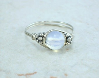 Sterling Silver Opalite and Bali Bead Ring