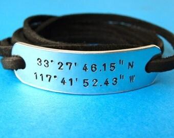 Coordinates Bracelet - Latitude & Longitude - Personalized Bracelet - Leather Wrap