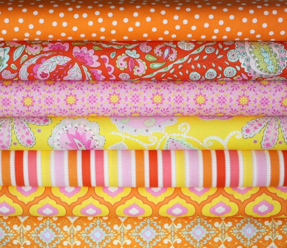 Pretty LIttle Things Fabric by Dena Designs for Free Spirit, Fat Quarter Bundle-7 Total