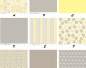 Custom Yellow/Grey Organic Cotton Gender Neutral Complete 4-Piece Boutique Crib Bedding Set CHOOSE&CUSTOMIZE