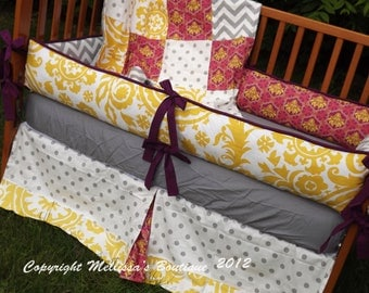 Custom Grey with Berry and Yellow Accent 4-Piece Complete Boutique Crib Nursery Bedding Set with Piping