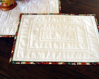 Fall place mats, unbleached muslin, quilted, set of two