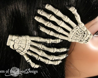 Skeleton hands hair clips with painted Black nails pair -- Sisters of the Moon