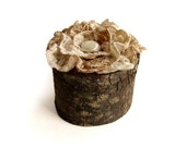 Fine Beige Cream Lace Bradford Pear Rustic Natural Wooden Pivot Ring Box by Tanja Sova