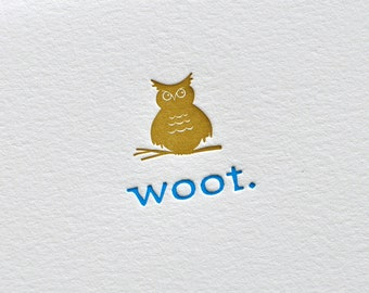 Letterpress Woot Owl Congratulations or Hello card and envelope