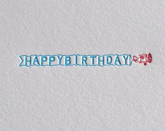 Letterpress Happy Birthday Airplane Card and Envelope