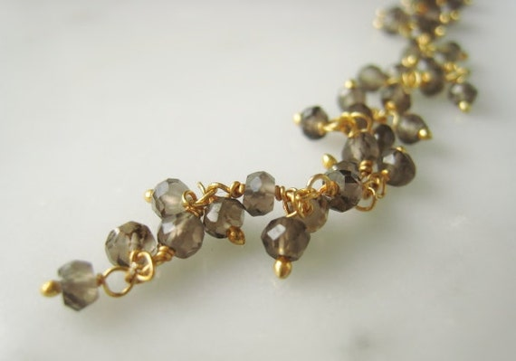 2.5-3mm Smoky Quartz and Vermeil Chain Parcel of Two Inches Item No. 8822