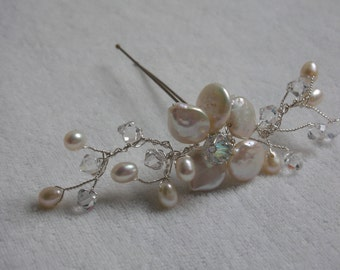 Handmade pearl and crystal hairpin