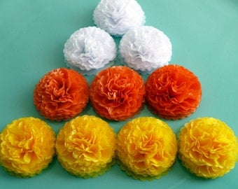 Button Mums Tissue Paper Flowers  1 inch  Wedding, Bridal Shower, Baby Shower Decor Candy Corn Halloween Party