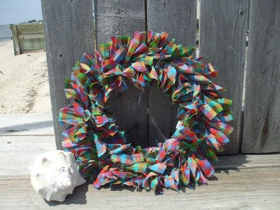 Bright Rainbow Homespun Fabric Rag Wreath Purple Pink Blue Green Spring Wreath