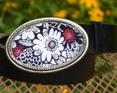 The Olivia Belt. Bold Black, White and Red Flower Buckle with Black Leather Belt
