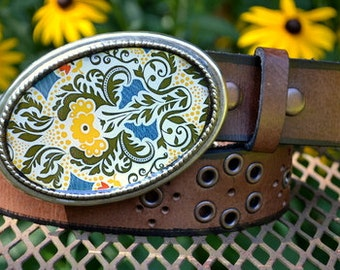 Charlotte Belt.  Green, Yellow and Blue Buckle with Brown Leather Grommet Belt