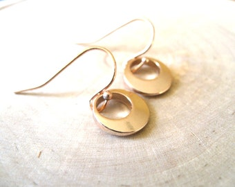 Rose gold earrings Circle geometric jewelry Bridesmaid gift under 30 Vitrine