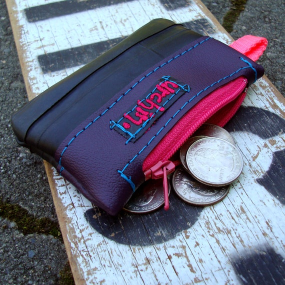 Change purse wallet eco friendly vegan made from reclaimed vinyl and bike inner tube