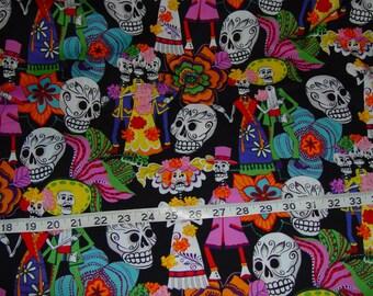 Day of the Dead Los Novios Fabric - 2 yards