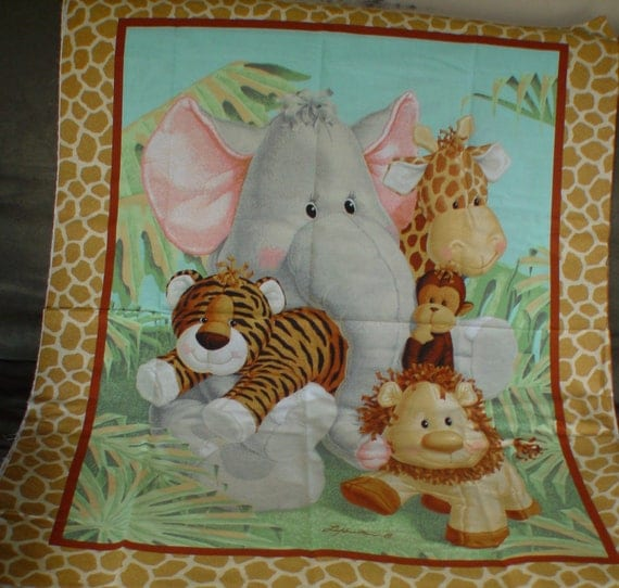 Jungle babies nursery quilt wallhanging panel for Safari fabric for nursery
