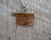 Vintage Oklahoma State Travel Charm for Bracelet Pendant Necklace Sterling Silver blue