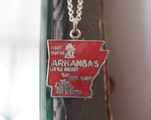 Vintage Arkansas State Travel Charm for Bracelet Pendant Necklace Sterling Silver blue