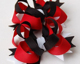 Red and Black Set of 2 Mini Boutique Hair Bows